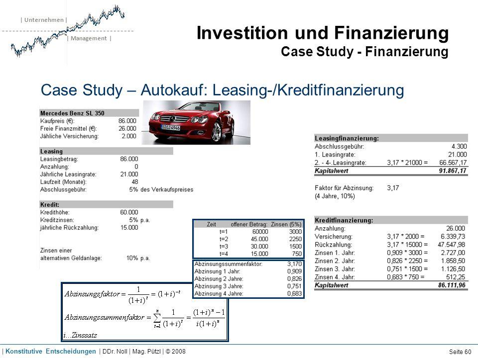 | Unternehmen | | Management | Investition und Finanzierung Case Study - Finanzierung Case Study – Autokauf: Leasing-/Kreditfinanzierung Seite 60 | Ko