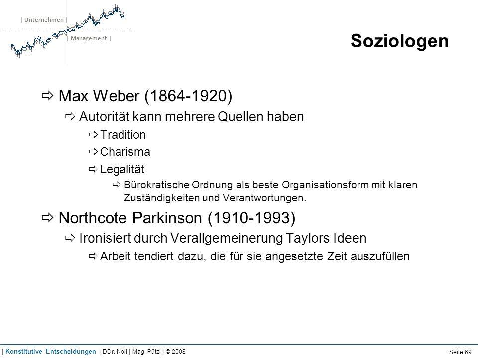 | Unternehmen | | Management | Soziologen Max Weber (1864-1920) Autorität kann mehrere Quellen haben Tradition Charisma Legalität Bürokratische Ordnun
