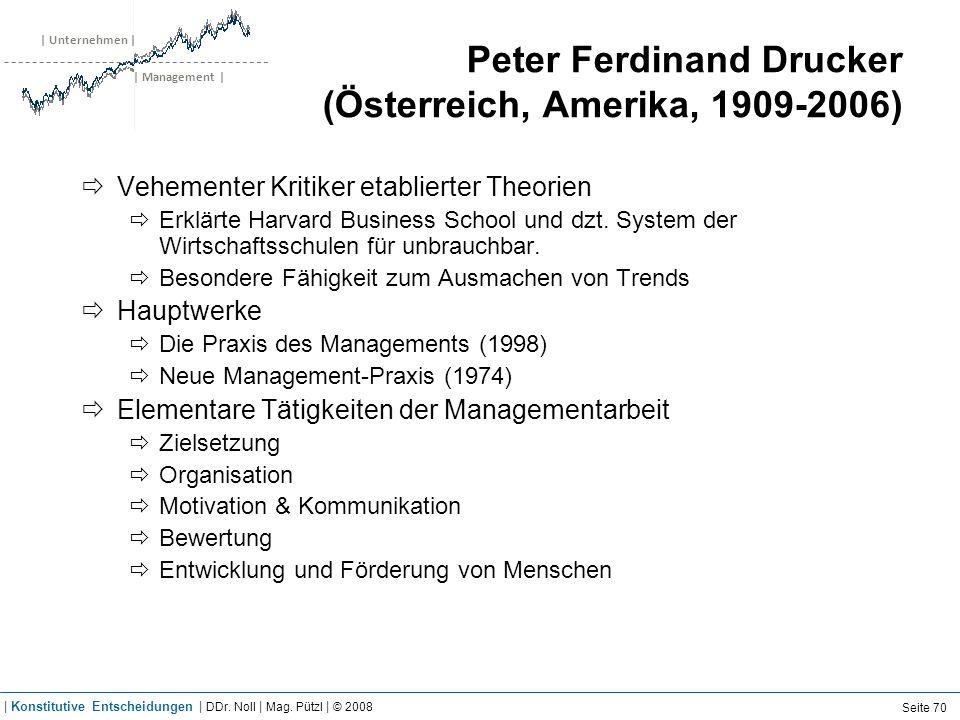 | Unternehmen | | Management | Peter Ferdinand Drucker (Österreich, Amerika, 1909-2006) Vehementer Kritiker etablierter Theorien Erklärte Harvard Busi