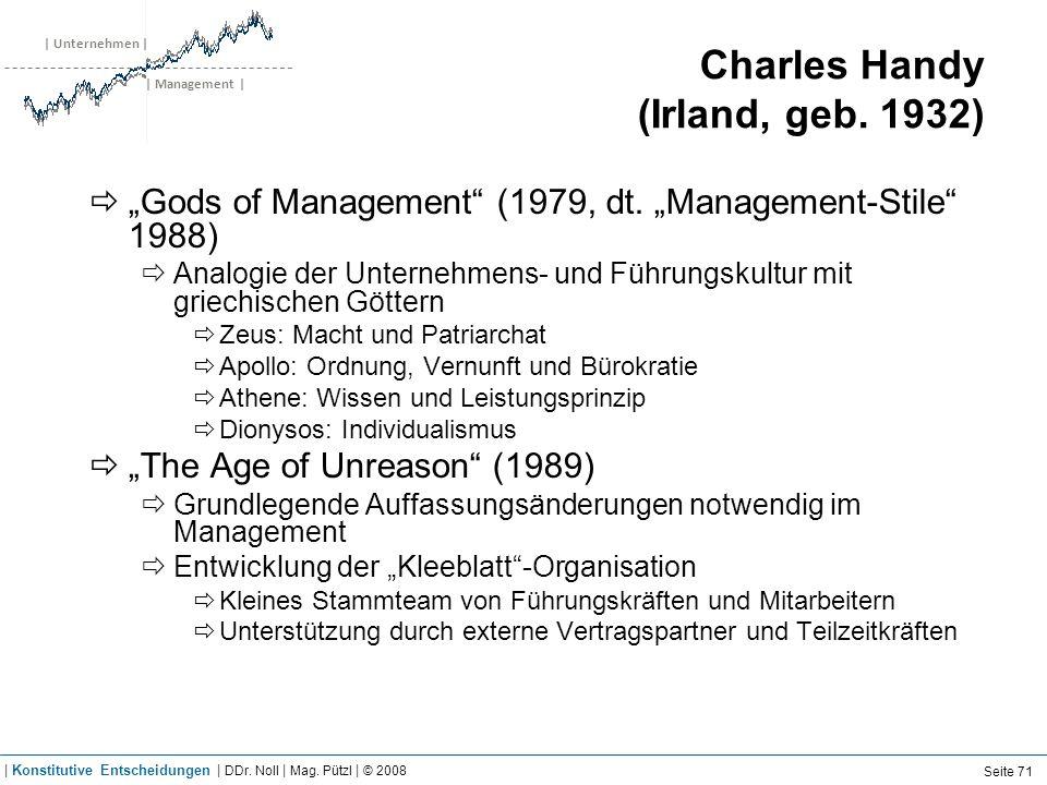 | Unternehmen | | Management | Charles Handy (Irland, geb. 1932) Gods of Management (1979, dt. Management-Stile 1988) Analogie der Unternehmens- und F