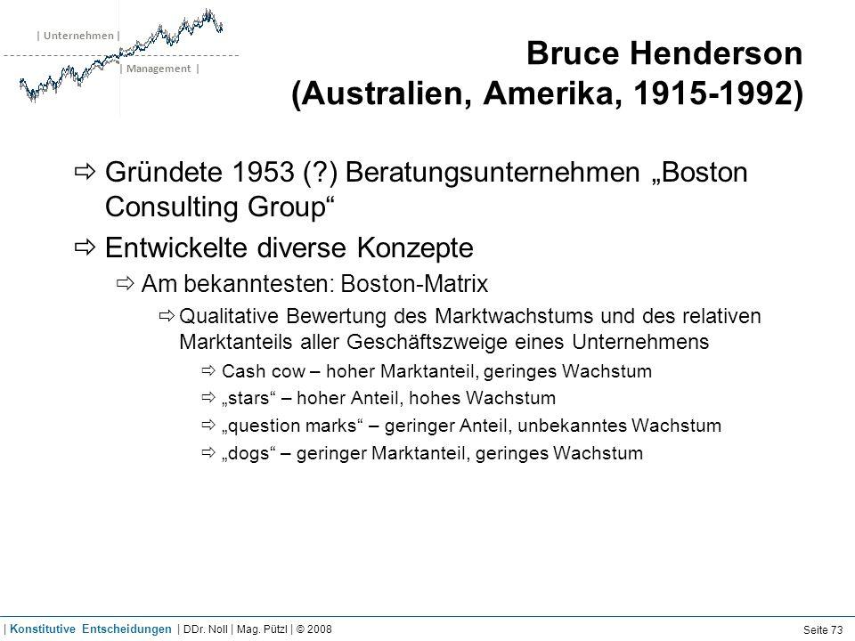 | Unternehmen | | Management | Bruce Henderson (Australien, Amerika, 1915-1992) Gründete 1953 (?) Beratungsunternehmen Boston Consulting Group Entwick