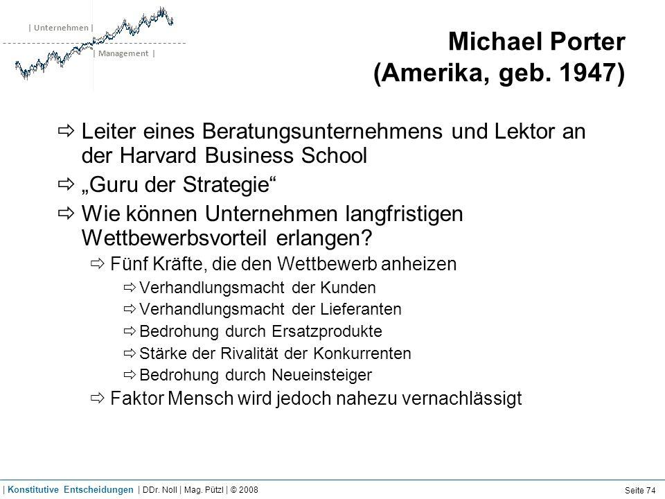 | Unternehmen | | Management | Michael Porter (Amerika, geb. 1947) Leiter eines Beratungsunternehmens und Lektor an der Harvard Business School Guru d