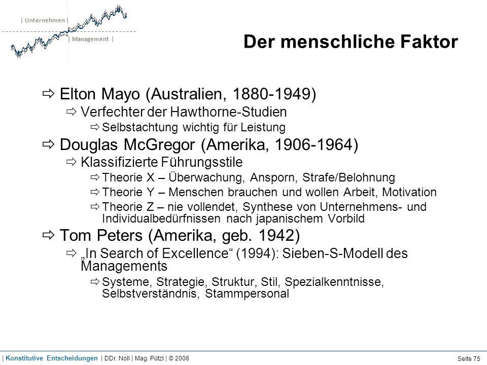 | Unternehmen | | Management | Der menschliche Faktor Elton Mayo (Australien, 1880-1949) Verfechter der Hawthorne-Studien Selbstachtung wichtig für Le