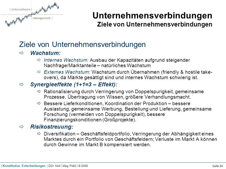 | Unternehmen | | Management | Unternehmensverbindungen Ziele von Unternehmensverbindungen Ziele von Unternehmensverbindungen Wachstum: Internes Wachs