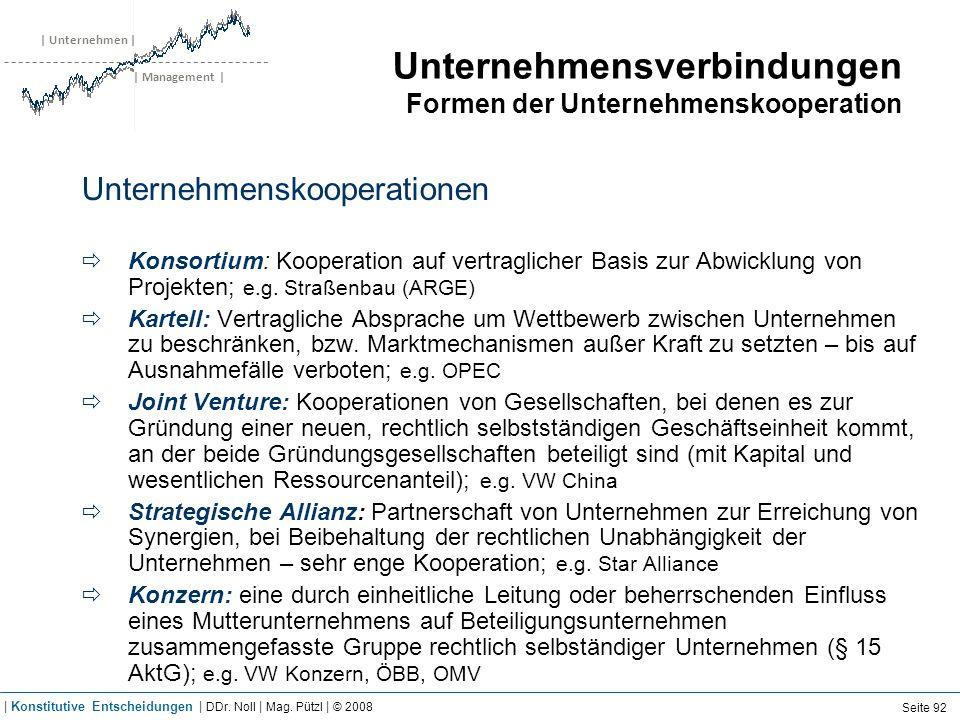 | Unternehmen | | Management | Unternehmensverbindungen Formen der Unternehmenskooperation Unternehmenskooperationen Konsortium: Kooperation auf vertr