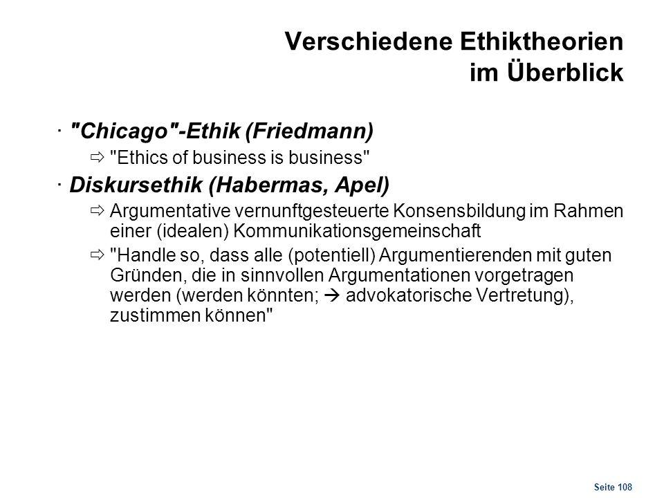 Seite 108 Verschiedene Ethiktheorien im Überblick ·