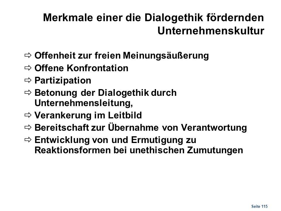 Seite 115 Merkmale einer die Dialogethik fördernden Unternehmenskultur Offenheit zur freien Meinungsäußerung Offene Konfrontation Partizipation Betonu