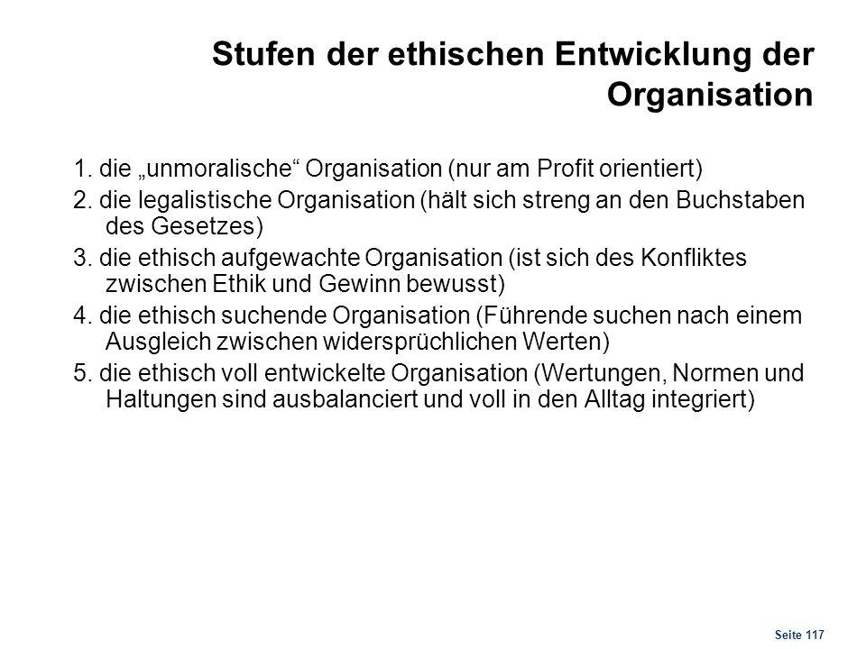 Seite 117 Stufen der ethischen Entwicklung der Organisation 1. die unmoralische Organisation (nur am Profit orientiert) 2. die legalistische Organisat