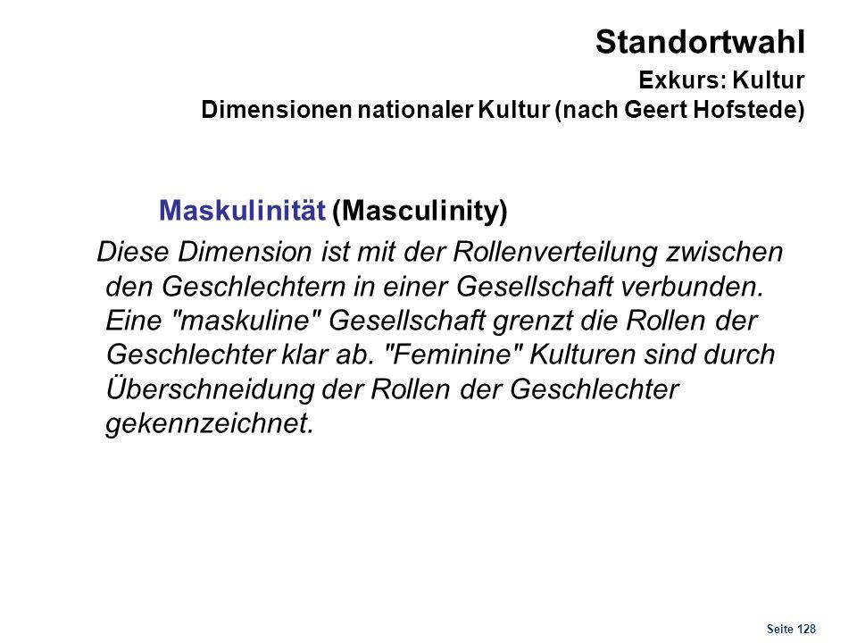 Seite 128 Standortwahl Exkurs: Kultur Dimensionen nationaler Kultur (nach Geert Hofstede) Maskulinität (Masculinity) Diese Dimension ist mit der Rolle