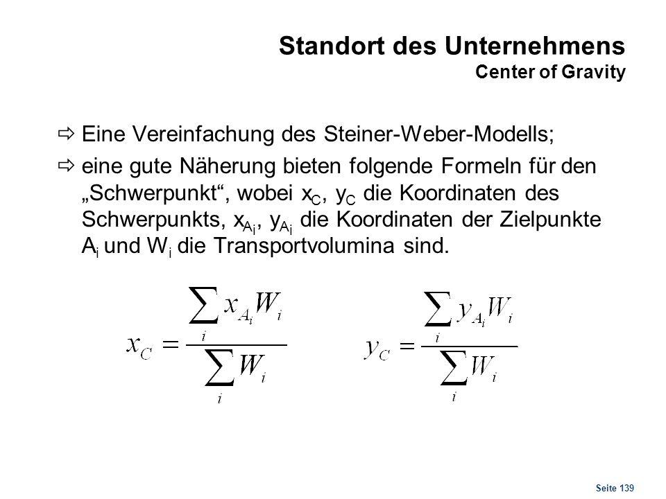 Seite 139 Standort des Unternehmens Center of Gravity Eine Vereinfachung des Steiner-Weber-Modells; eine gute Näherung bieten folgende Formeln für den