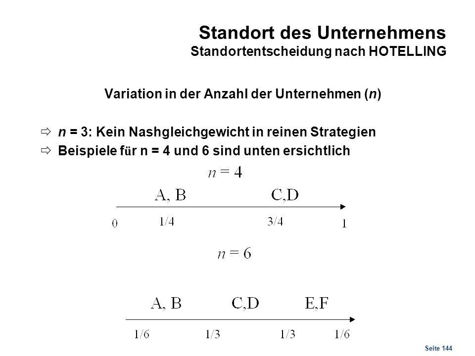 Seite 144 Standort des Unternehmens Standortentscheidung nach HOTELLING Variation in der Anzahl der Unternehmen (n) n = 3: Kein Nashgleichgewicht in r