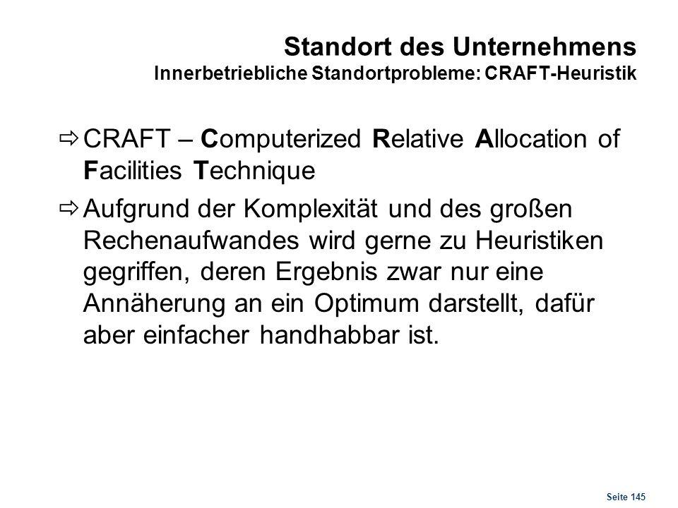 Seite 145 Standort des Unternehmens Innerbetriebliche Standortprobleme: CRAFT-Heuristik CRAFT – Computerized Relative Allocation of Facilities Techniq