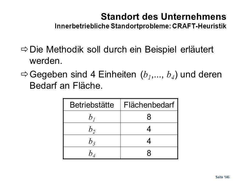 Seite 146 Standort des Unternehmens Innerbetriebliche Standortprobleme: CRAFT-Heuristik Die Methodik soll durch ein Beispiel erläutert werden. Gegeben