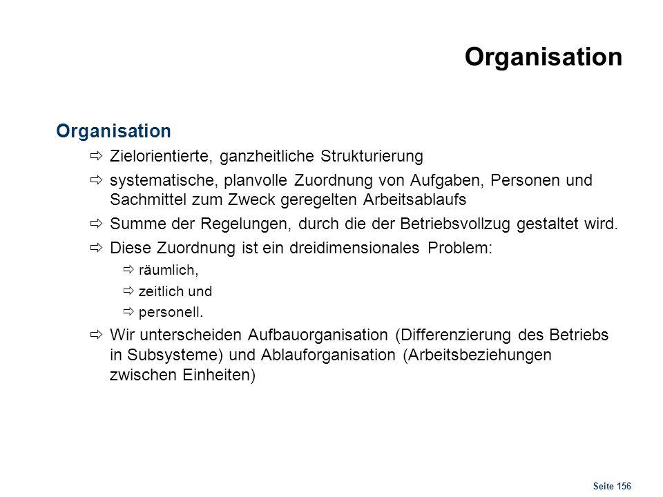 Seite 156 Organisation Zielorientierte, ganzheitliche Strukturierung systematische, planvolle Zuordnung von Aufgaben, Personen und Sachmittel zum Zwec