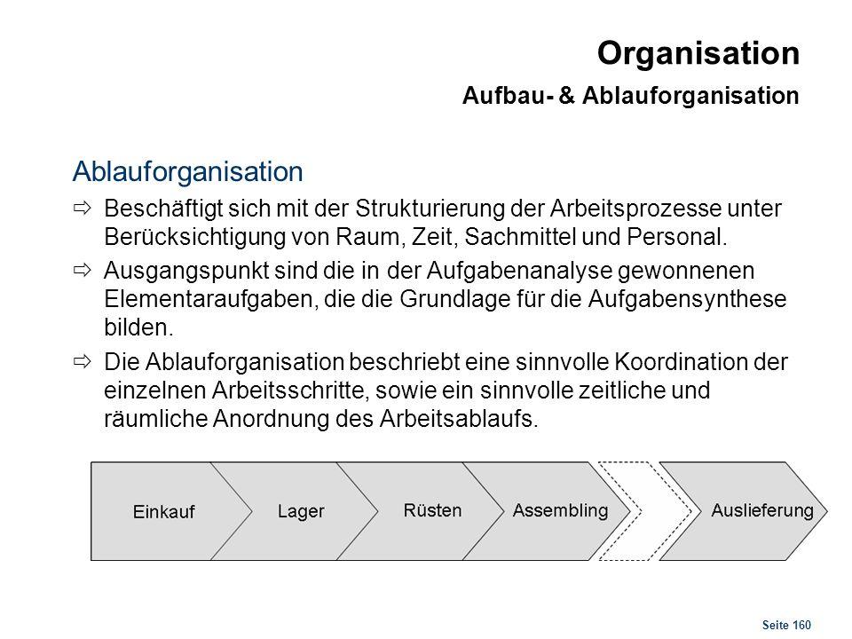 Seite 160 Organisation Aufbau- & Ablauforganisation Ablauforganisation Beschäftigt sich mit der Strukturierung der Arbeitsprozesse unter Berücksichtig