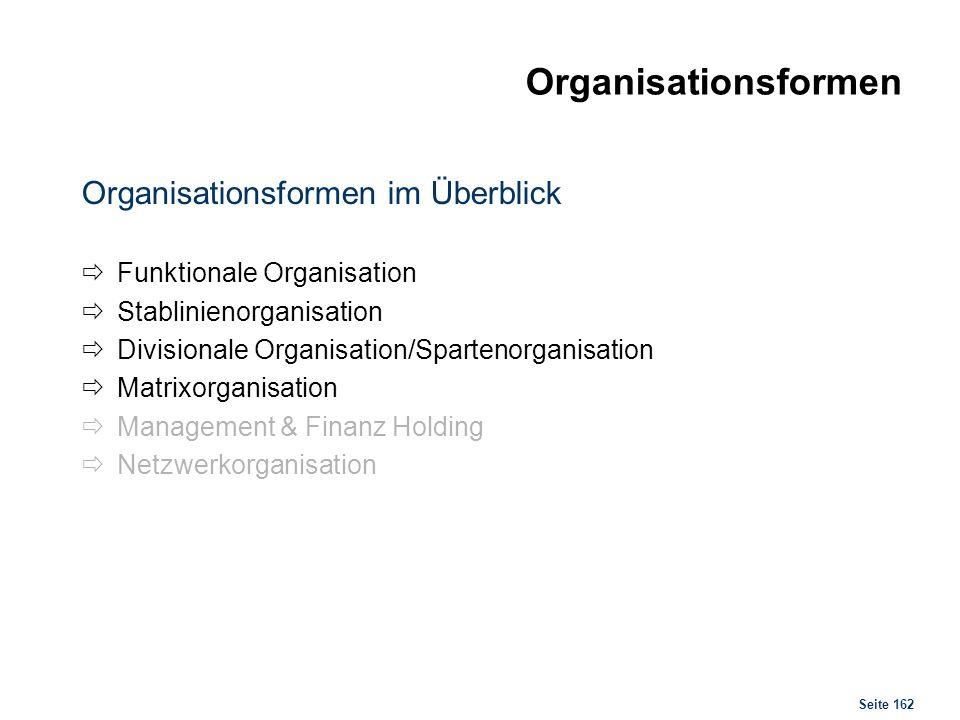 Seite 162 Organisationsformen Organisationsformen im Überblick Funktionale Organisation Stablinienorganisation Divisionale Organisation/Spartenorganis