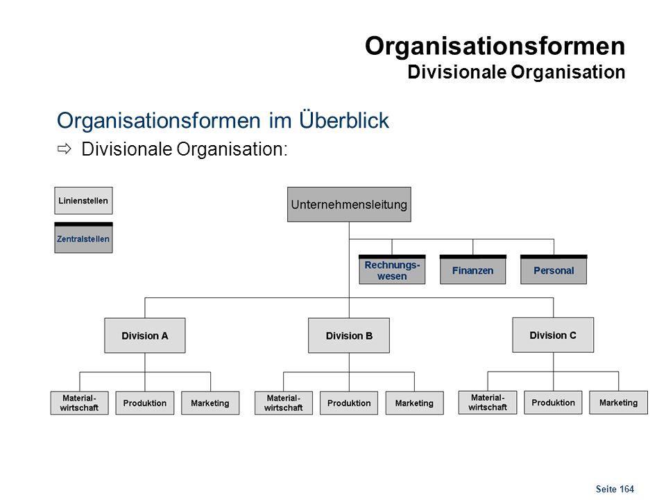 Seite 164 Organisationsformen Divisionale Organisation Organisationsformen im Überblick Divisionale Organisation: