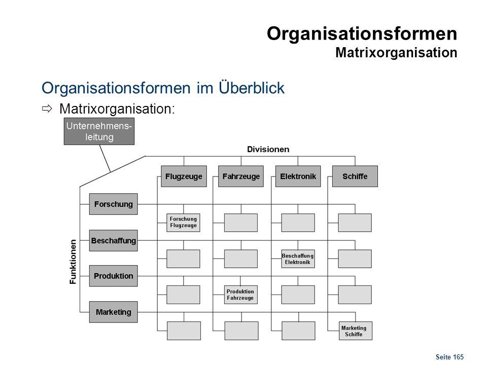 Seite 165 Organisationsformen Matrixorganisation Organisationsformen im Überblick Matrixorganisation: