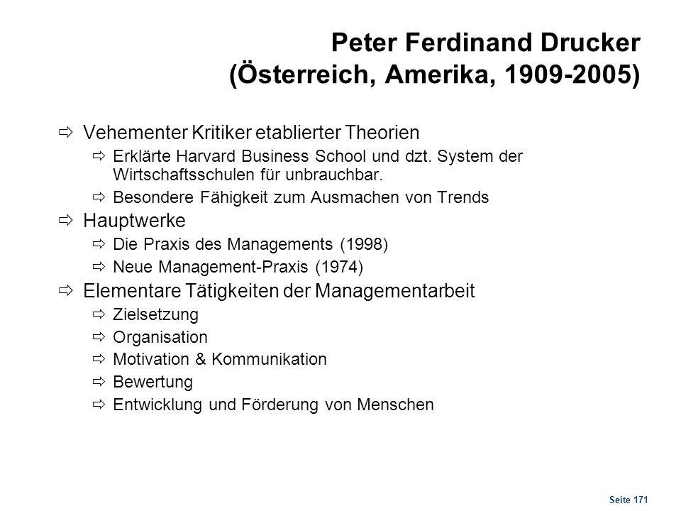 Seite 171 Peter Ferdinand Drucker (Österreich, Amerika, 1909-2005) Vehementer Kritiker etablierter Theorien Erklärte Harvard Business School und dzt.