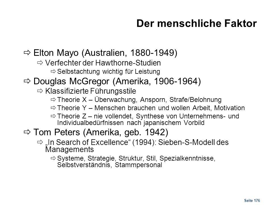 Seite 176 Der menschliche Faktor Elton Mayo (Australien, 1880-1949) Verfechter der Hawthorne-Studien Selbstachtung wichtig für Leistung Douglas McGreg