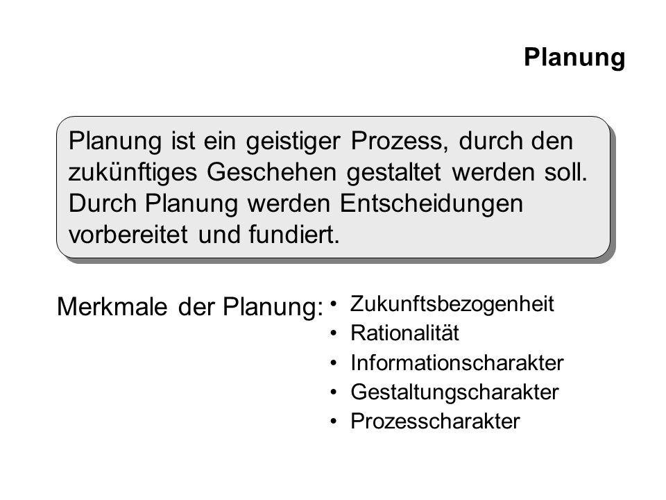 Planung Planung ist ein geistiger Prozess, durch den zukünftiges Geschehen gestaltet werden soll. Durch Planung werden Entscheidungen vorbereitet und