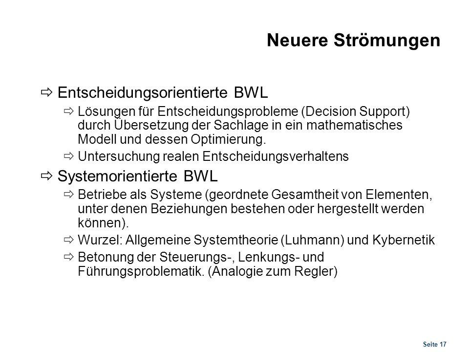 Seite 17 Neuere Strömungen Entscheidungsorientierte BWL Lösungen für Entscheidungsprobleme (Decision Support) durch Übersetzung der Sachlage in ein ma