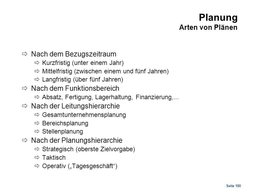 Seite 180 Planung Arten von Plänen Nach dem Bezugszeitraum Kurzfristig (unter einem Jahr) Mittelfristig (zwischen einem und fünf Jahren) Langfristig (