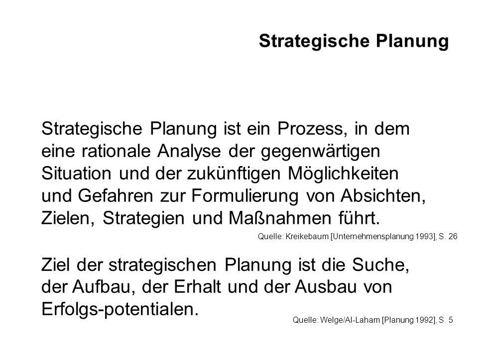 Strategische Planung Strategische Planung ist ein Prozess, in dem eine rationale Analyse der gegenwärtigen Situation und der zukünftigen Möglichkeiten