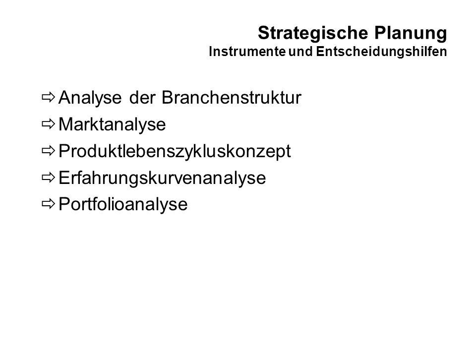 Strategische Planung Instrumente und Entscheidungshilfen Analyse der Branchenstruktur Marktanalyse Produktlebenszykluskonzept Erfahrungskurvenanalyse
