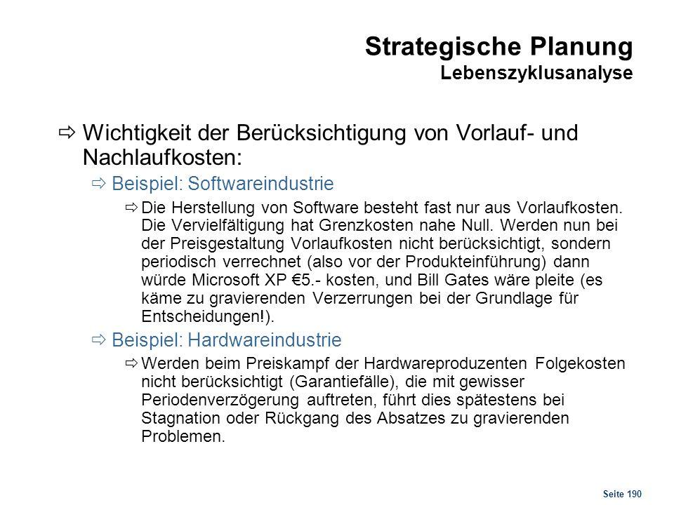 Seite 190 Strategische Planung Lebenszyklusanalyse Wichtigkeit der Berücksichtigung von Vorlauf- und Nachlaufkosten: Beispiel: Softwareindustrie Die H