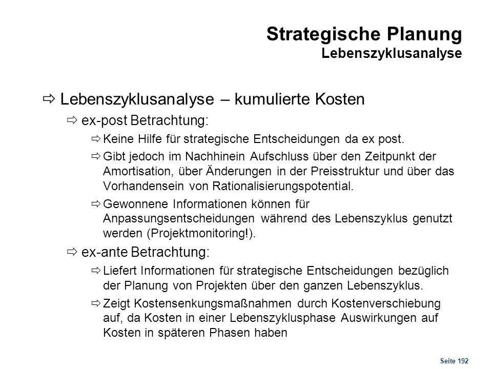 Seite 192 Strategische Planung Lebenszyklusanalyse Lebenszyklusanalyse – kumulierte Kosten ex-post Betrachtung: Keine Hilfe für strategische Entscheid