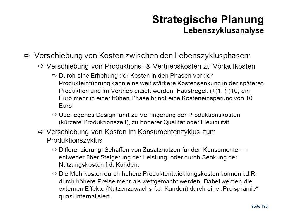 Seite 193 Strategische Planung Lebenszyklusanalyse Verschiebung von Kosten zwischen den Lebenszyklusphasen: Verschiebung von Produktions- & Vertriebsk