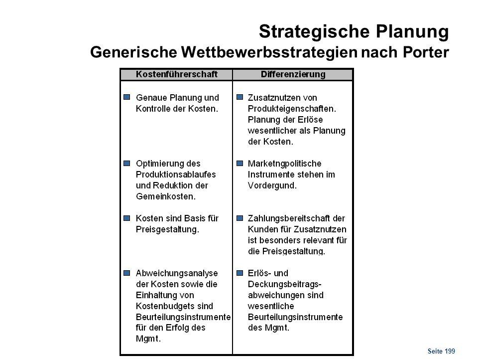 Seite 199 Strategische Planung Generische Wettbewerbsstrategien nach Porter