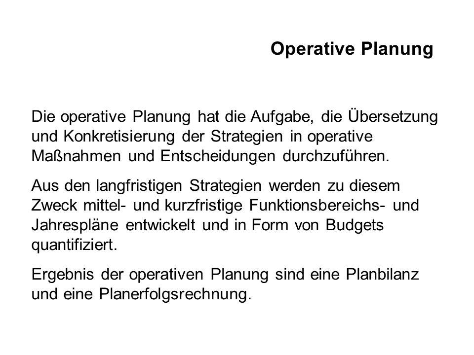 Operative Planung Die operative Planung hat die Aufgabe, die Übersetzung und Konkretisierung der Strategien in operative Maßnahmen und Entscheidungen