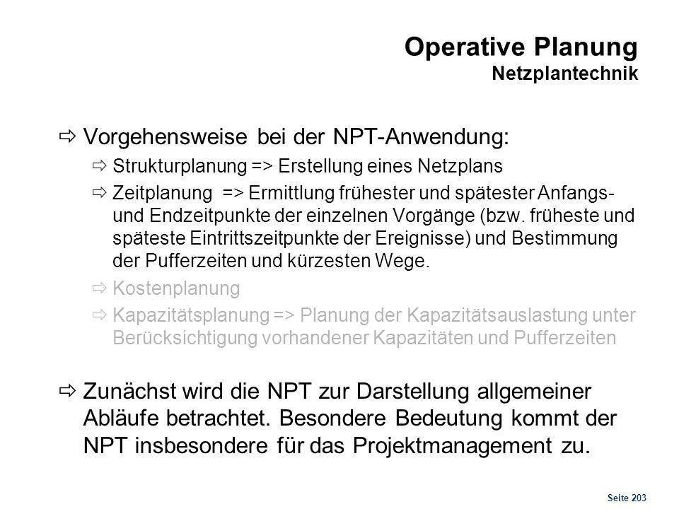 Seite 203 Operative Planung Netzplantechnik Vorgehensweise bei der NPT-Anwendung: Strukturplanung => Erstellung eines Netzplans Zeitplanung => Ermittl