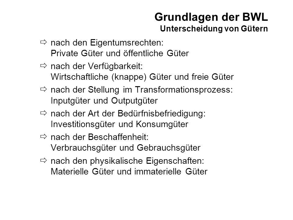 Grundlagen der BWL Unterscheidung von Gütern nach den Eigentumsrechten: Private Güter und öffentliche Güter nach der Verfügbarkeit: Wirtschaftliche (k