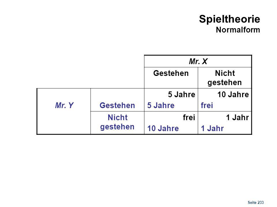 Seite 233 Spieltheorie Normalform Mr. X GestehenNicht gestehen Mr. YGestehen 5 Jahre 10 Jahre frei Nicht gestehen frei 10 Jahre 1 Jahr