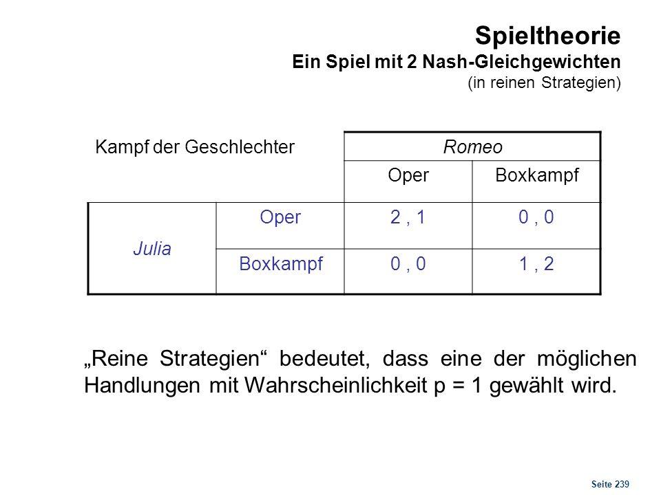 Seite 239 Spieltheorie Ein Spiel mit 2 Nash-Gleichgewichten (in reinen Strategien) Kampf der Geschlechter Romeo OperBoxkampf Julia Oper2, 10, 0 Boxkam