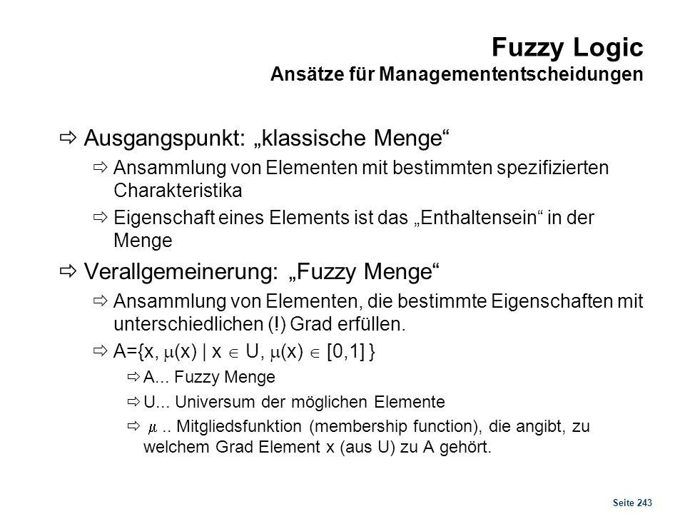 Seite 243 Fuzzy Logic Ansätze für Managemententscheidungen Ausgangspunkt: klassische Menge Ansammlung von Elementen mit bestimmten spezifizierten Char