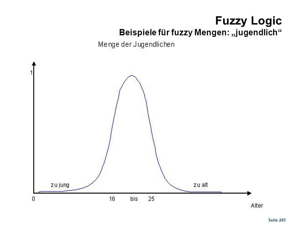 Seite 245 Fuzzy Logic Beispiele für fuzzy Mengen: jugendlich