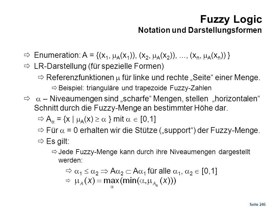 Seite 246 Fuzzy Logic Notation und Darstellungsformen Enumeration: A = {(x 1, A (x 1 )), (x 2, A (x 2 )),..., (x n, A (x n )) } LR-Darstellung (für sp