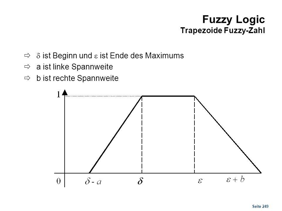 Seite 249 Fuzzy Logic Trapezoide Fuzzy-Zahl ist Beginn und ist Ende des Maximums a ist linke Spannweite b ist rechte Spannweite