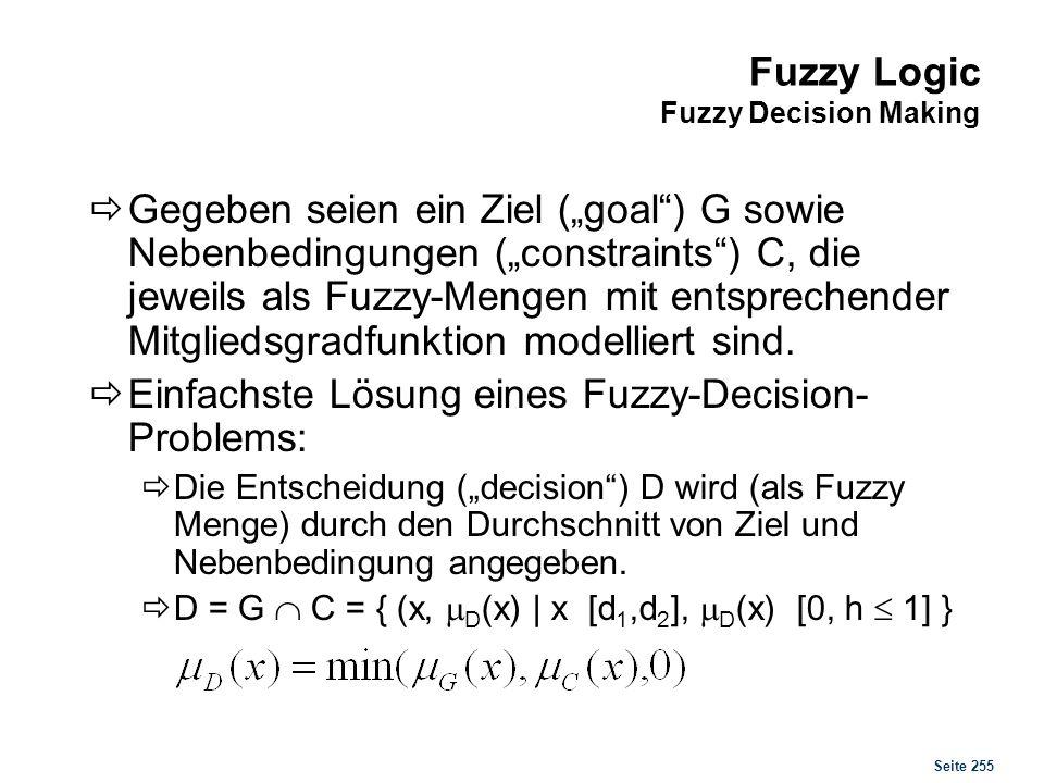Seite 255 Fuzzy Logic Fuzzy Decision Making Gegeben seien ein Ziel (goal) G sowie Nebenbedingungen (constraints) C, die jeweils als Fuzzy-Mengen mit e