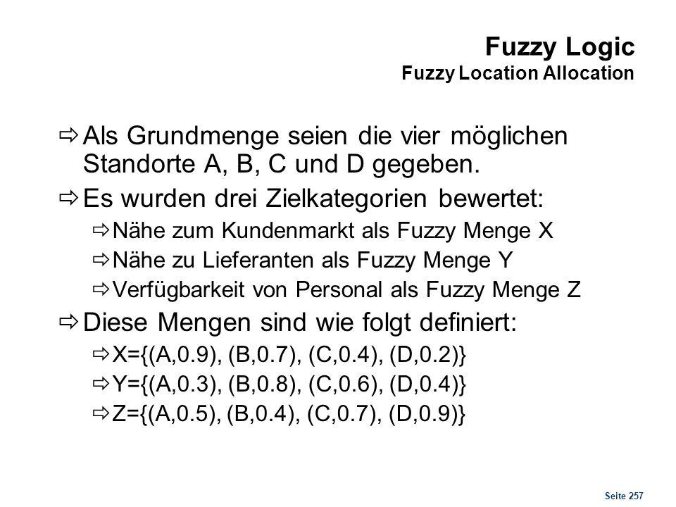 Seite 257 Fuzzy Logic Fuzzy Location Allocation Als Grundmenge seien die vier möglichen Standorte A, B, C und D gegeben. Es wurden drei Zielkategorien
