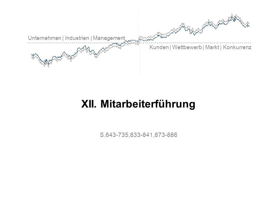 Unternehmen | Industrien | Management Kunden | Wettbewerb | Markt | Konkurrenz XII. Mitarbeiterführung S.643-735,833-841,873-886