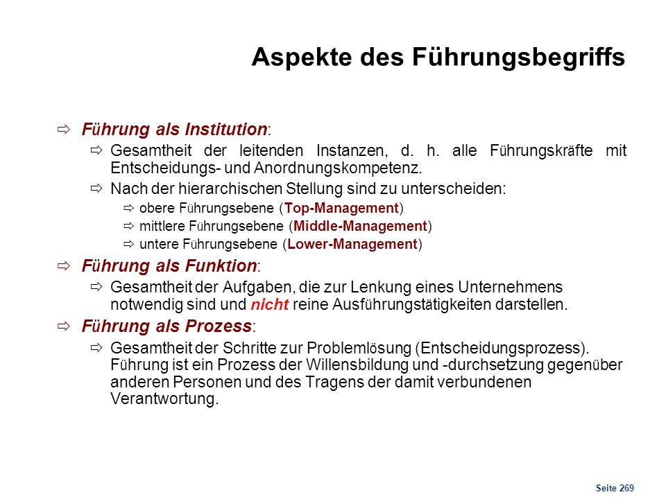 Seite 269 Aspekte des Führungsbegriffs F ü hrung als Institution: Gesamtheit der leitenden Instanzen, d. h. alle F ü hrungskr ä fte mit Entscheidungs-