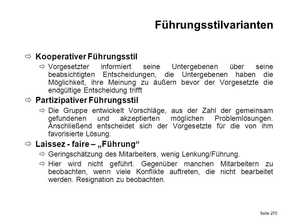 Seite 275 Führungsstilvarianten Kooperativer Führungsstil Vorgesetzter informiert seine Untergebenen über seine beabsichtigten Entscheidungen, die Unt