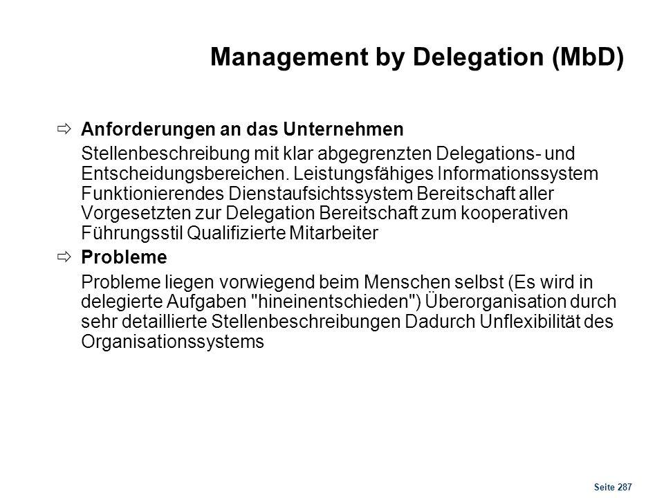 Seite 287 Management by Delegation (MbD) Anforderungen an das Unternehmen Stellenbeschreibung mit klar abgegrenzten Delegations- und Entscheidungsbere
