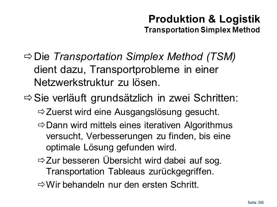 Seite 306 Produktion & Logistik Transportation Simplex Method Die Transportation Simplex Method (TSM) dient dazu, Transportprobleme in einer Netzwerks