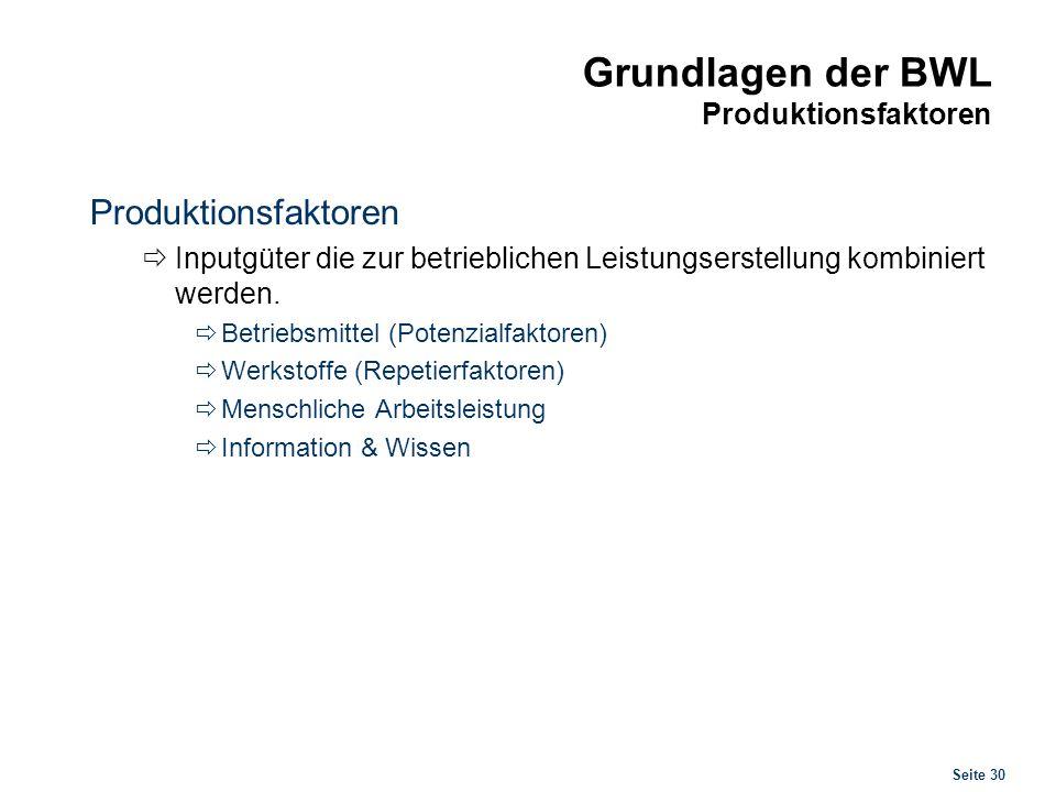 Seite 30 Grundlagen der BWL Produktionsfaktoren Produktionsfaktoren Inputgüter die zur betrieblichen Leistungserstellung kombiniert werden. Betriebsmi